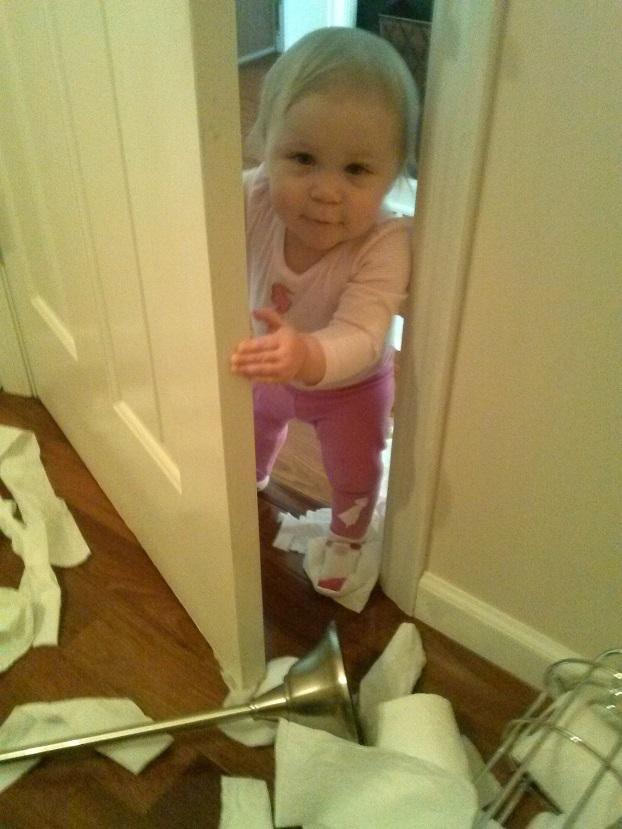 Baby Peeking in Bathroom