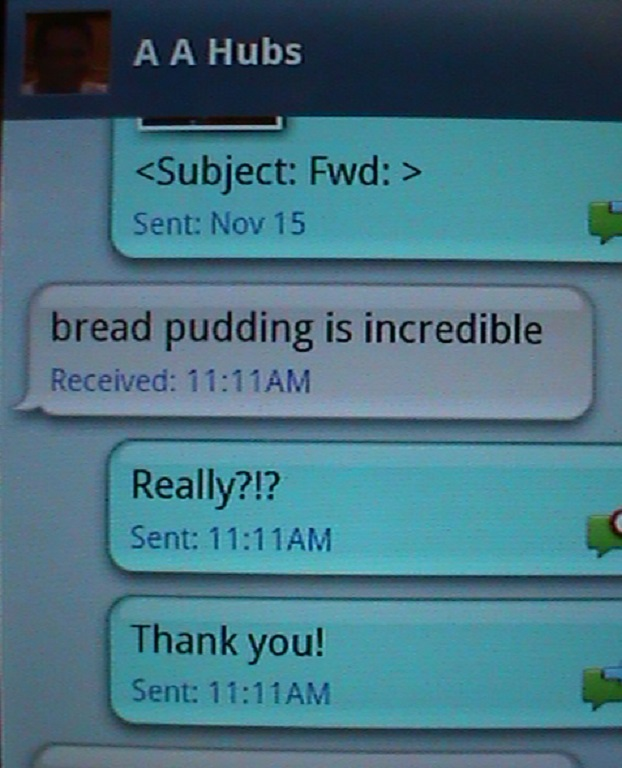 Text message from hubby
