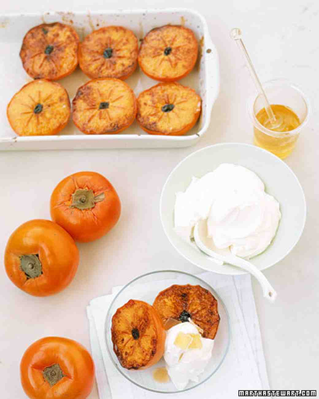 Martha Stewart Broiled Persimmon with Mascarpone