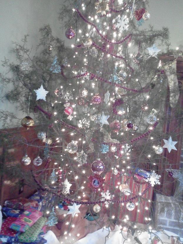 Cedar Christmas tree decorated