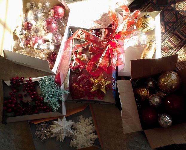 taking down Christmas ornaments