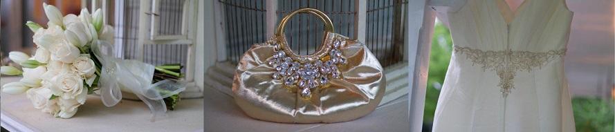 white rose tulip bridal bouquet purse dress