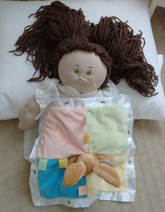 Homemade Cabbage Patch Doll with blanket