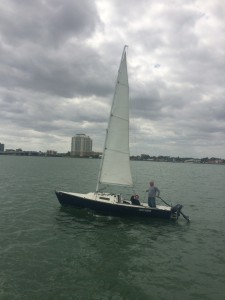 Grandparents sailing on biscayne bay